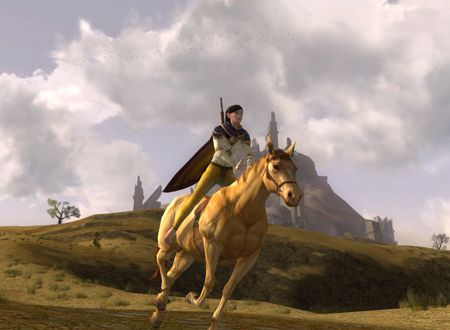 Runyariel of Nimrodel on her Blonde Sorrel horse